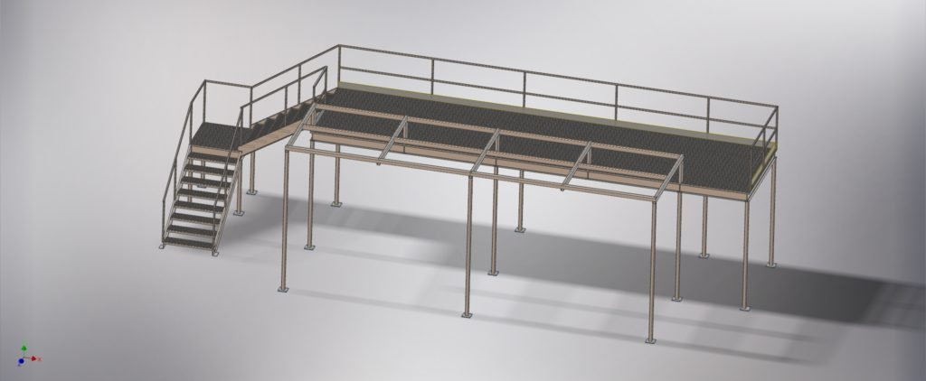 A 3d render of steel stairs and sorting platform